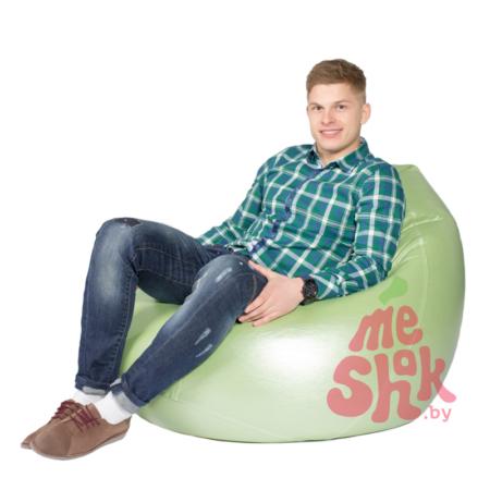 Кресло-мешок из экокожи Серебристо-зеленое